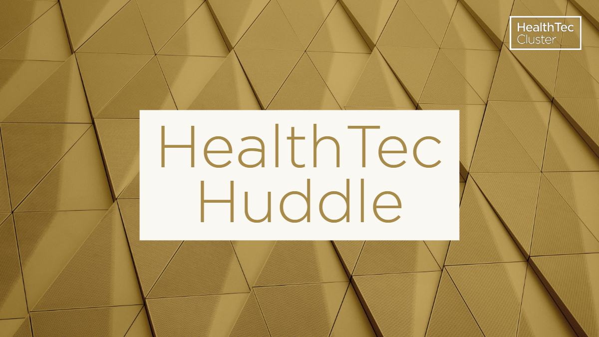The HealthTec Huddle sits on a gold triangle background